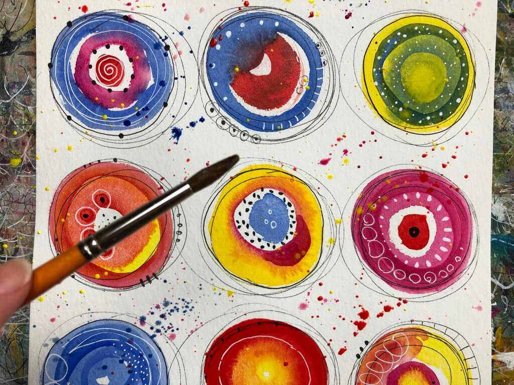 Abstract watercolor painting circles